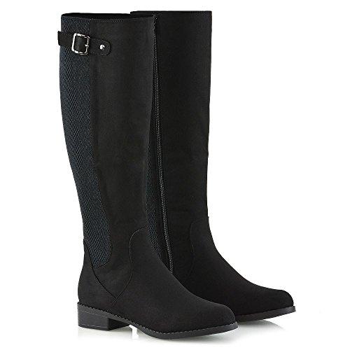 Essex Glam Dames Stretch Kalf Knielaarzen Elastische Winter Casual Laarzen Zwart Faux Suede
