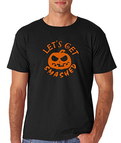AW Fashions Funny Halloween Shirt - Spooky Hocus Pocus Horror Shirts - Costume T-Shirts Jack O Latern Pumkin Tshirts (Lets Get Smashed, XX-Large)
