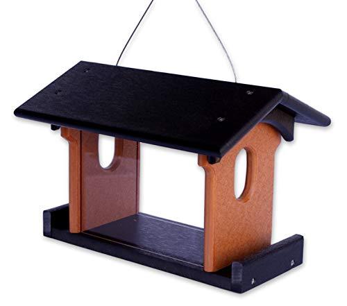 Amish-Made Bluebird Feeder, Eco-Friendly Poly-Wood Hanging Blue Bird Feeder (Black and Cedar)