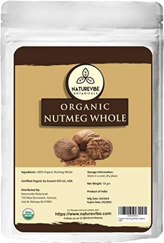 Naturevibe Botanicals Organic Nutmeg Whole, 50gm | Non-GMO and Gluten Free | Indian Spice | Adds Aroma and Flavor