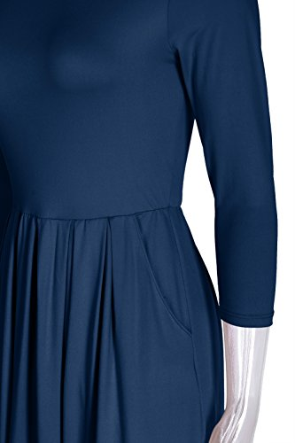 Dress Pockets Midi A Women's with Sleeve 4 Side Teal1 Rosy Pleated 3 Bon Line wHWq67zn1
