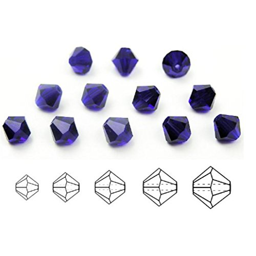 - 100pcs Authentic 4mm Small Swarovski Crystals 5328 Xillion Bicone Crystal Beads for Jewelry Craft Making (Cobalt Blue) SWA-b415