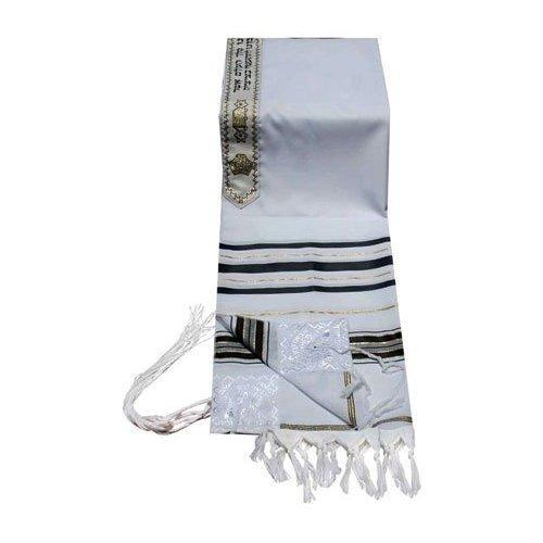 Acrílico talit (lana idiffusion) mantilla en negro y oro tamaño 45 ...