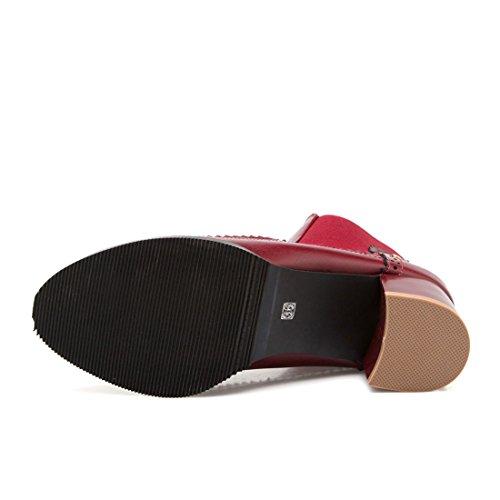 YE Damen Chelsea Boots Gefütterte Chunky Heels Stiefeletten mit 5cm Blockabsatz Bequem Simple Schuhe Grau