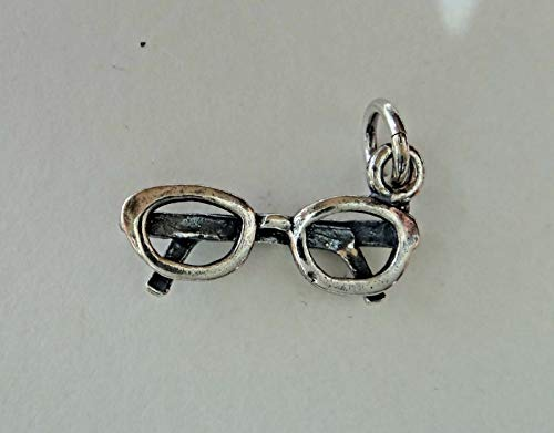 - Sterling Silver 20x10mm Detailed Eye Glasses Eyeglasses Spectacles Charm Jewelry Making Supply, Pendant, Sterling Charm, Bracelet, Beads, DIY Crafting and Other by Wholesale Charms
