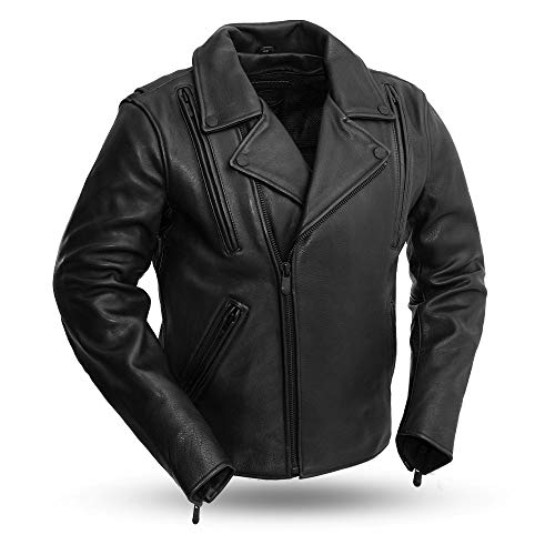 First Mfg Co Platinum Series Men's Leather Jacket (Black, Small)