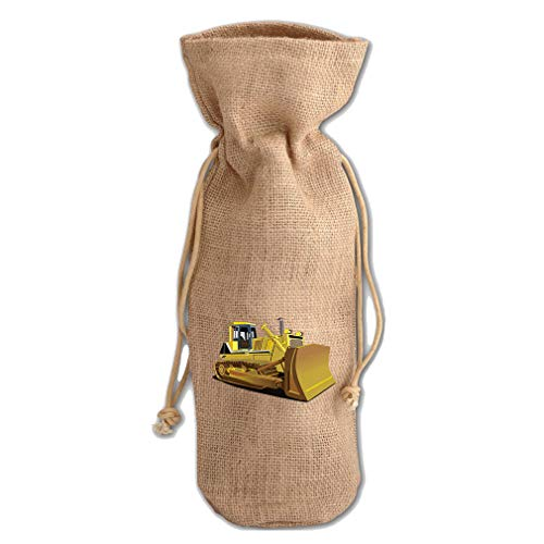Yellow Dozer Car Auto Jute Burlap Wine Drawstring Bag Wine Sack Natural