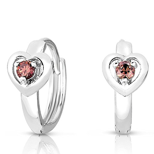 Girls Sterling Silver Huggie Heart Earrings with Simulated Alexandrite Birthstone - Sterling Art