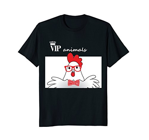 Funny Animals Cock T-Shirt Chicken with Sunglasses & Bow - Wearing Chicken Sunglasses