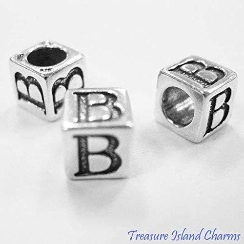 Letter B .925 Solid Sterling Silver Alphabet 7mm Block Bead, 5mm Hole - Sterling Silver Holes Block Alphabet