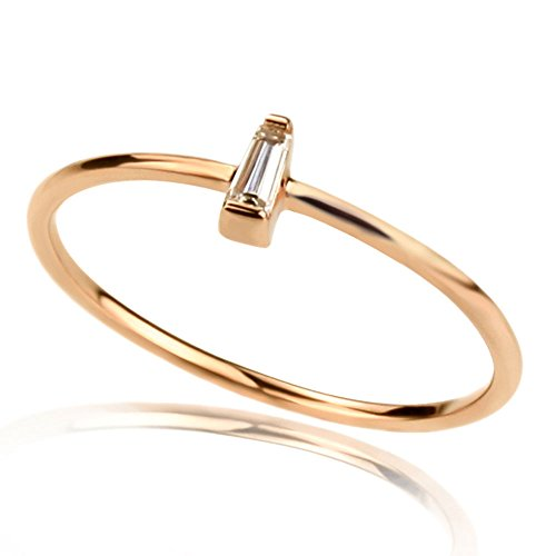 1mm 14K Rose Gold Wedding & Engagement Ring 0.05ct Diamond Accent Solitaire Promise Ring (Size 4 to 8), 5