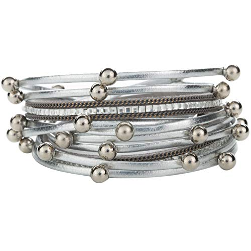 Yoocool Multi-Layer Handmade Leather Bracelet Braided Wrap Cuff Bangle with Alloy Magnetic Clasp Beaded Wrist Bracelets Jewelry for Women,Girl Gift (Silver with Beads)