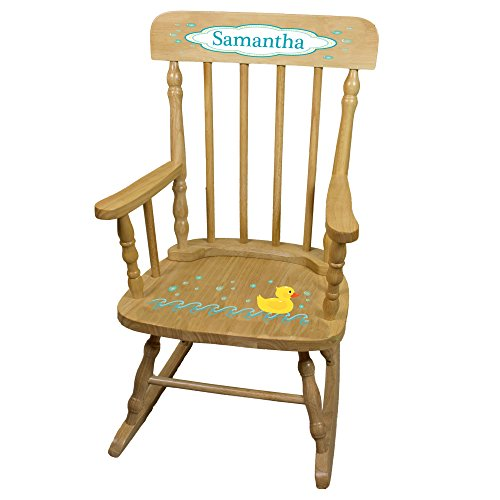 Personalized Rubber Ducky Wooden Childrens Rocking Chair (Duckie Rocker)