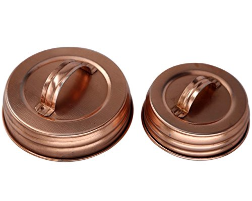 Shiny Copper Canister Handle Lid For Mason, Canning Jars (4 Pack, Wide Mouth)