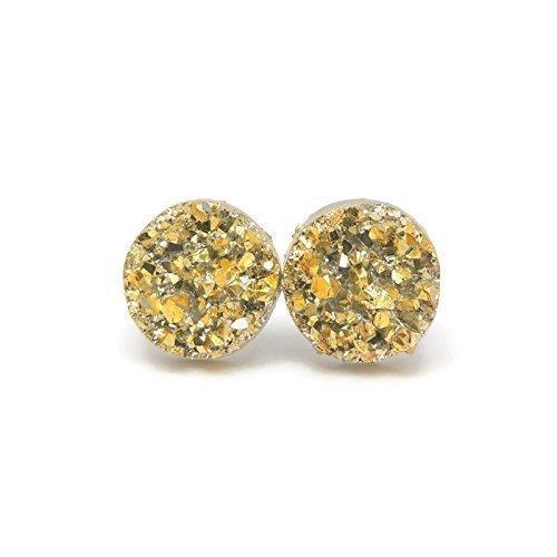 - Faux Druzy Stone Earrings Hypoallergenic Metal-Free Plastic Posts, Gold-Tone, 12mm