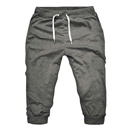 Dolwins Men's Skinny Solid Pants, Slim Elastic Waist Sportwear with Pocket Harem Traning Cropped Trousers