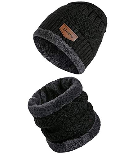2-Pieces Beanie Hat Scarf Set Women Winter Warm Knit Hat Thick Infinity Scarf Skull Cap Slouchy Beanie