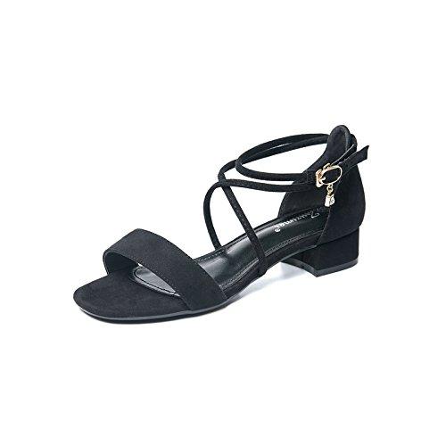 Croisées Chaussures Bretelles À Shoes Chaussures High Dew Avec EU34 Président Sandales SHOESHAOGE Toe Avec Heel Femme Épais Avec Le Attache T7XUqIU
