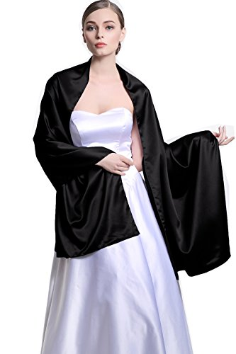 Stain Warp Versatile Scarf Shawl Bridal Stole Wedding Silky Shrug for Women's Evening Prom Party Black