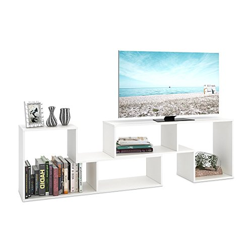 DEVAISE TV Stand / 2 Pieces Bookcase / Bookshelf (0.59'' Thk, White) by DEVAISE