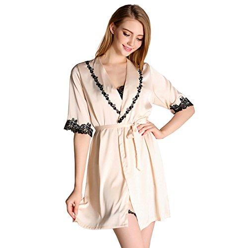 Nightgowns For Women Sexy, cool nik Women's Sexy Robe Night Two-Piece Sleepwear Gold Medium