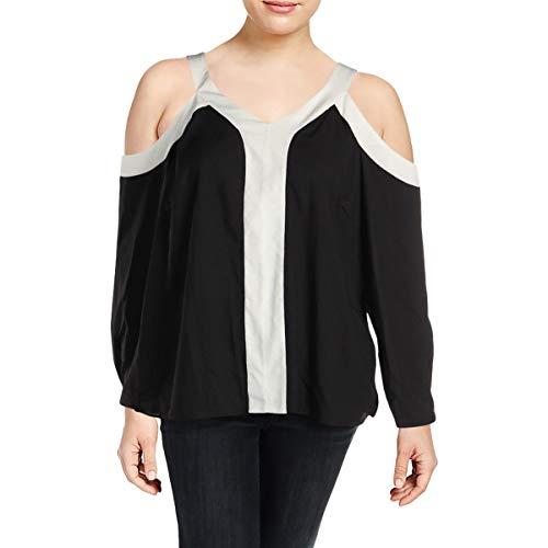Calvin Klein Womens Plus Cold Shoulder Colorblock Pullover Top Black 3X ()