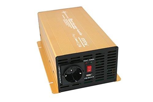 Spannungswandler 12V 300 bis 3000 Watt reiner SINUS mit echtem Power USB 2.1A Gold Edition (1000 Watt)
