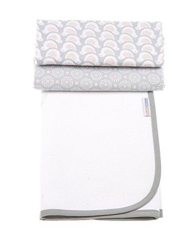 Motherhood 5901323924941 3in1 Baby Wickelunterlagen wasserdicht + 2 Moltonunterlagen 50x60 cm- beide 100 % Baumwolle, luftdurchlässig, Vögel rosa-grau