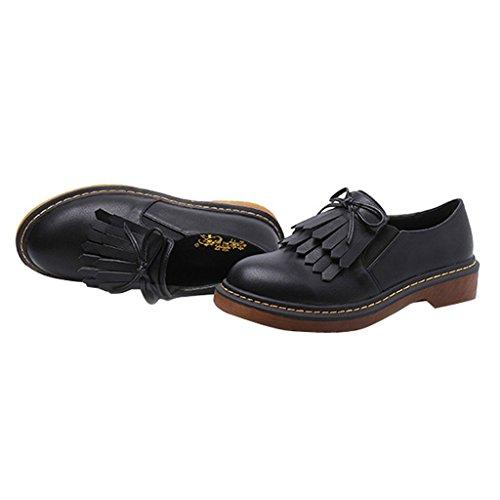 Shoes Slip Time Oxford Tassels Women Dear Black On q8B1Y