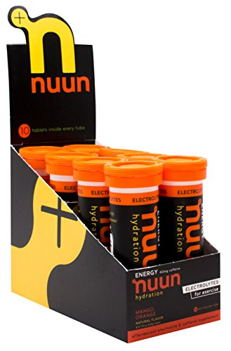 Nuun Hydration: Electrolyte + Caffeine Drink Tablets, Mango Orange, Box of 8 Tubes (80 servings), Performance Formula with A Kick