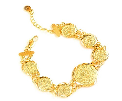 Dubai Link Chain Coin Trendy Islamic Muslim Stainless Stainless Ladies Girls Women Coin Bracelet Bangle 18K Gold Plated Gift Ladies Allah