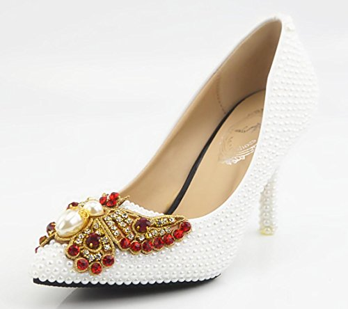 CSDM Diamanti donne scarpe da sposa cristallo Handmade Shoes Pearl farfalla fiori di alta - con tacco impermeabili Scarpe Sposa Abito , white , 35