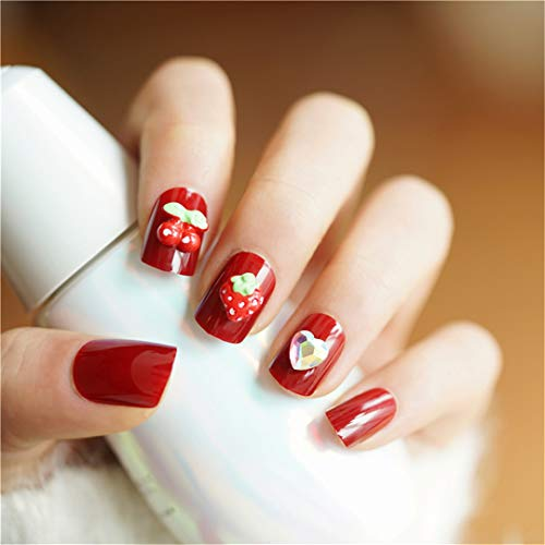 24 Pcs Oval Fake Nails Short Elk Nail Design Tips With Solid Coffee White In Box Unhas For Christmas Gifts fruit ()