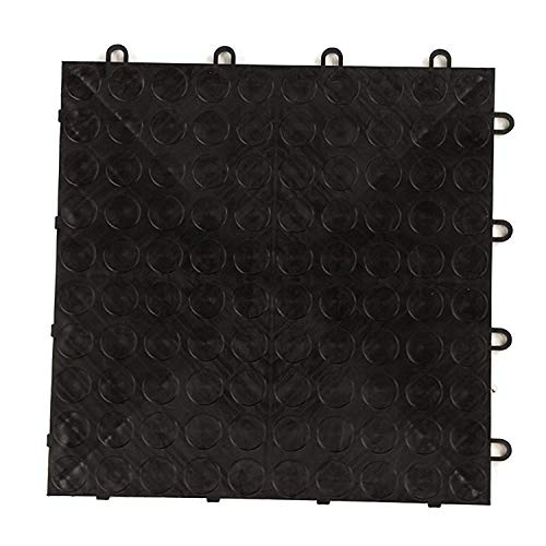 IncStores Coin Grid-Loc Garage Flooring Snap Together Mat Drainage Tiles (48 Pack, Midnight Black)