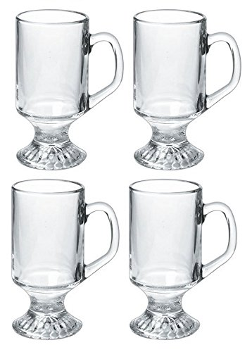 Luminarc 9.75-ounce Irish Coffee Footed Mug, Clear, Set of 4 (Glass Footed Mug)