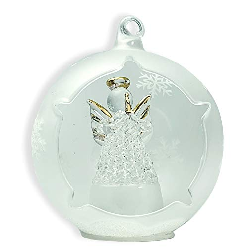 BANBERRY DESIGNS Angel Lighted Ornament - Angel Praying in a LED Frosted Glass Globe - Christmas Tree Decorations (Ornament Tree Spun Glass)