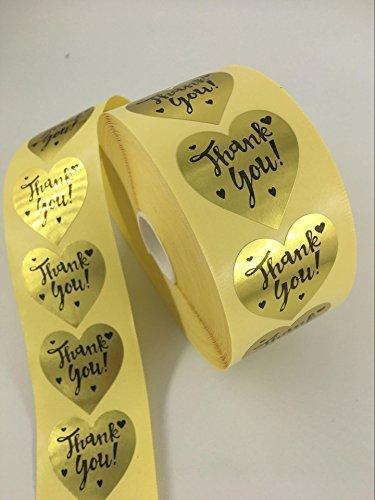 Gold Heart Shape Foil Sticker Labels, 1000 Stickers, 1 1/2