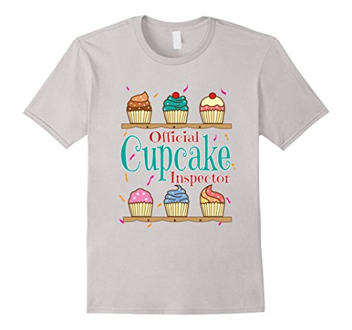 Mens Official Cupcake Inspector Cupcake Lover T-Shirt 2XL Silver