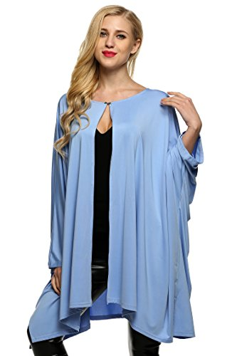 ZEARO Femmes Mode Casual vrac Batwing manches longues manteaux solide