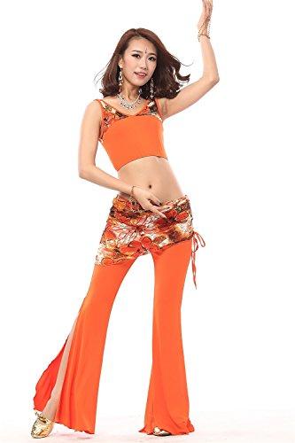 Danza del vientre Disfraz Set Merged Chaleco Top+Split Wide Leg Pantalones Orange