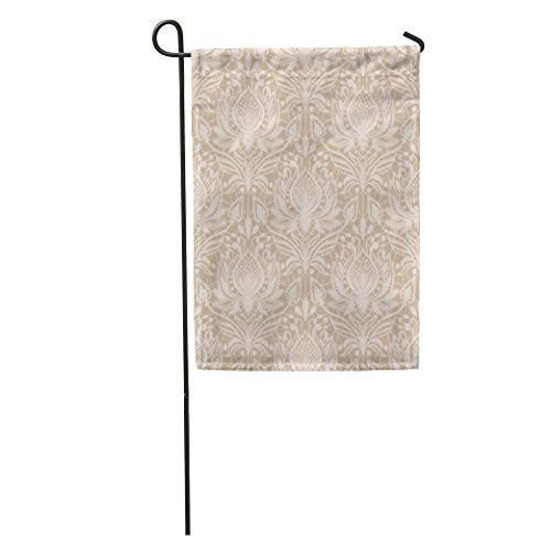 Semtomn Garden Flag Beige Delicate Lace Pattern in Vintage Drawing Elegance Elegant Floral Home Yard House Decor Barnner Outdoor Stand 28x40 Inches Flag ()