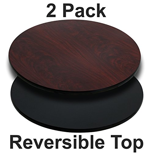 Flash Furniture 2-XU-RD-42-MBT-GG 42RD BK/MA Reversible Laminate Tops, 2 Pack, Black/Mahogany ()