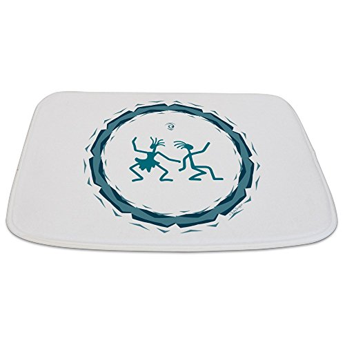Bathmat Large Primitive Dancing Duo Teal by Truly Teague