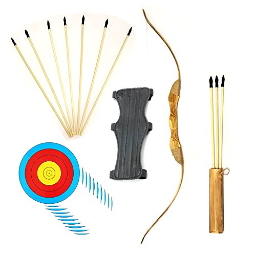Quiver Guard - Wooden Bow and Arrow Set with 4 Bullseye Target Sheets and Arm Guard 10 Safe Rubber Tip Arrows and Quiver Most Extensive Archery Set for Kids Youth and Beginners (17 PCS)