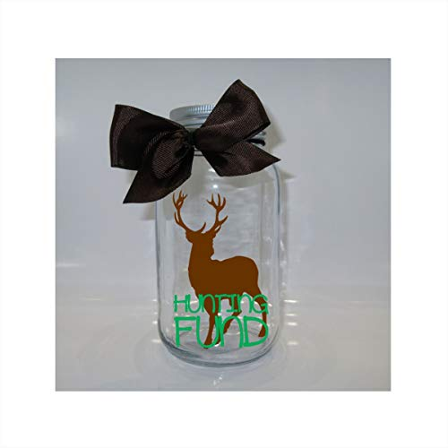 Hunting Fund Mason Jar Bank - Coin Slot Lid - Available in 3 Sizes ()