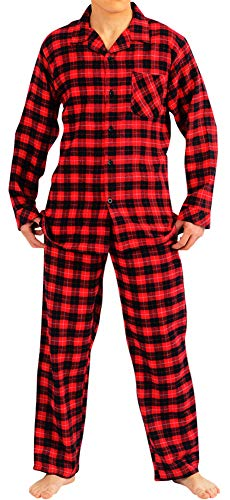 NORTY - Mens Cotton Windowpane Plaid Flannel Sleep Pajama Sets, Red, Black 40784-XX-Large]()