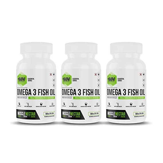 Muscle Nectar (MN) Omega 3 Fish Oil 1000mg with EPA 300 mg & DHA 200 mg per Softgel for Men & Women - Molecularly