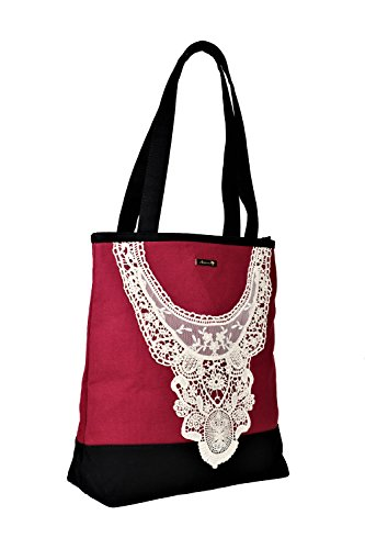 Designer Premium Quality Tote/Handbag - Boutique Style Zipper Closure (Red Black) ()