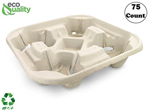 Pulp Fiber Cup Tray Biodegradable 4 Cup Carrier 75 Count by EcoQuality - Compostable, Recyclable - for Hot and Cold Drinks. Eco-Friendly and Stackable to Keep Coffee, Tea, Soda, Boba from Spilling
