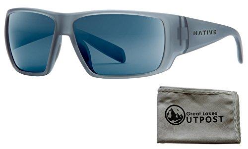 Native Eyewear Sightcaster, Matte Smoke Crystal Sunglasses with Blue Reflex Lenses and Cloth